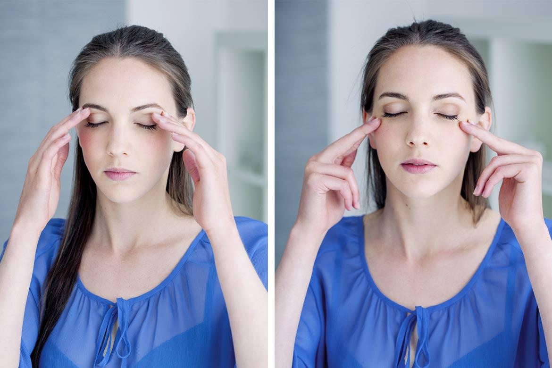 massaggio occhi stanchi